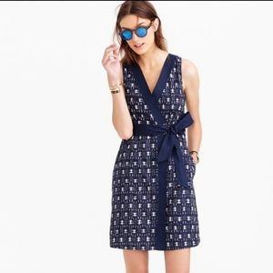 J Crew Ikat Wrap Indigo Blue Printed Dress